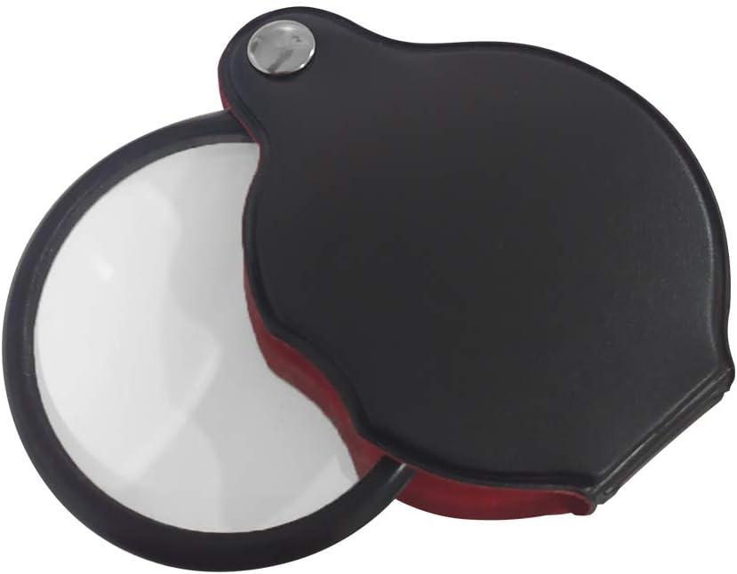 EUROXANTY Lupa de bolsillo | Lupa con 10x de aumento | Con funda protectora | Lupa giratoria 360º | Joyerías | Funda de piel | 5cm de diámetro | Negro