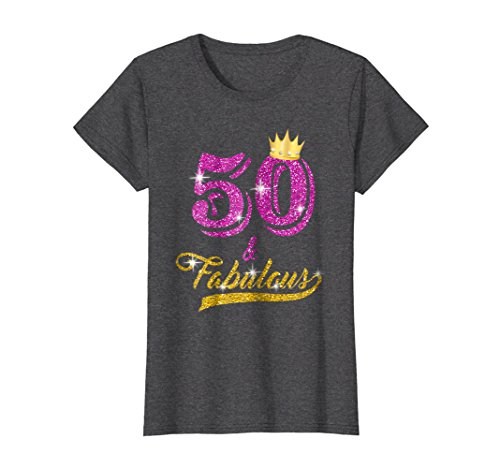Womens 50 and Fabulous T-Shirt 50 yrs old B-day 50th Birthday Gift Large Dark ()