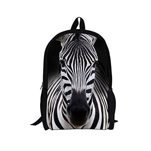 Bigcardesigns DIY Fashion Zebra Backpack School Book Bag for Girls Teenagers