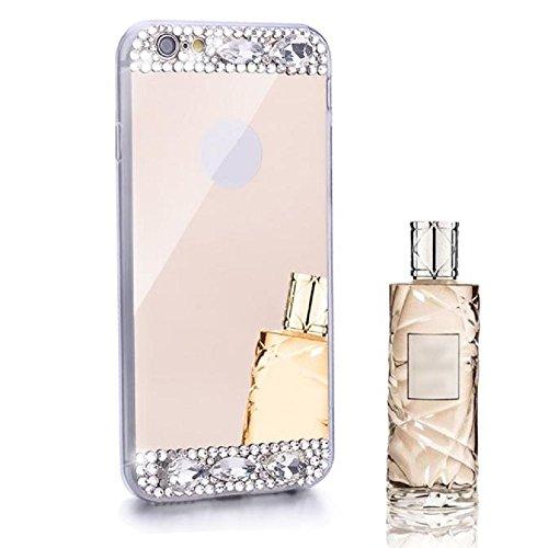 Sannysis Für iPhone 6/6S Hülle,Bling Diamant-Spiegel-Rückseiten-TPU Soft Case (Gold)
