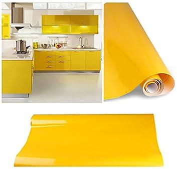 KINLO Selbstklebende Folie Küche Gelb 61x500cm Tapeten Küche Aus  Hochwertigem PVC Klebefolie Aufkleber Küchenschränke Wasserfest Möbelfolie