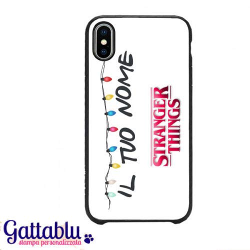 Cover per iPhone X con stampa Stranger Things serie tv inspired luci colorate, PERSONALIZZATA CON IL TUO NOME!