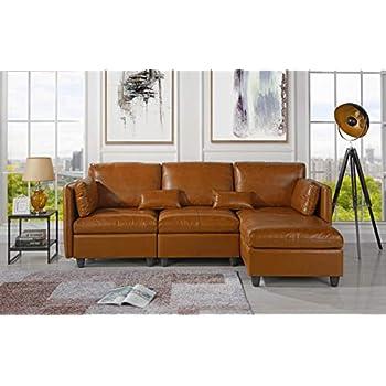 Amazon.com: Sofá de cuero con forma de L, con salón de ...