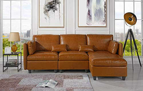 L-Shape Living Room Leather Match Sectional Sofa, Right Facing Chaise Lounge (Brown) (Chaise Facing Sectional Right)