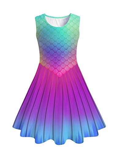 Funnycokid Girls Sleeveless Casual Dress Kids Holiday Party Summer Dresses 4-13 Years (Mermaid Tail, 4-5 T) (Outfits Party)