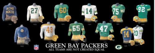Framed Evolution History Green Bay Packers Uniforms Print -
