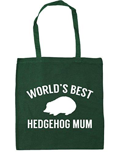 HippoWarehouse World's best hedgehog mum Tote Shopping Gym Beach Bag 42cm x38cm, 10 litres Bottle Green
