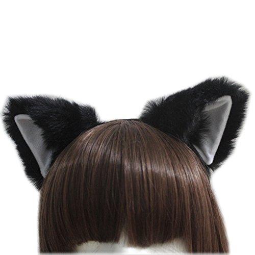 E-TING Gato Fox largo Piel Orejas Diadema Anime de Cosplay Halloween Cosplay Fiesta Disfraz ()