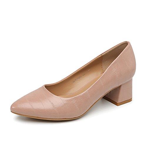 PUMPS Damenschuhe,Dicke Ferse Schuhe-A Fußlänge=21.8CM(8.6Inch)