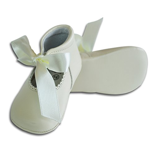 Carriage Boutique Baby Girls Dressy Crib Shoes - White Leather w/Satin Ribbon, Size 15 EU/0 US - Baby Boutique Shoes