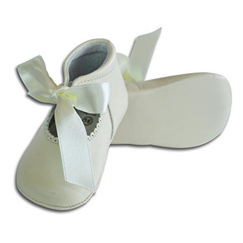 Carriage Boutique Baby Girls Dressy Crib Shoes - White Leather w/Satin Ribbon, Size 15 EU/0 US Infant