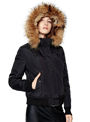 Escalier Women`s Down Coat Short Thickened Jacket With Raccoon Fur Hooded Black XL