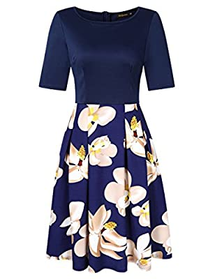 Women's Vintage Print Patchwork Pockets Puffy A Line Swing Casual Party Dress