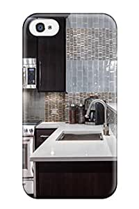Anti-scratch And Shatterproof Eclectic Gray Mosaic Kitchen Backsplash Phone Case For Iphone 4/4s/ High Quality Tpu Case