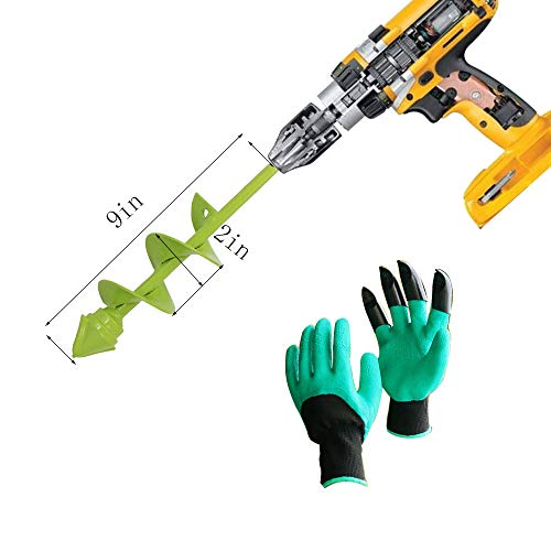 Cxgoods Backyard Plant Flower Bulb Auger 2″ x 9″ Speedy Planter, with Backyard Genie Gloves, Bulb & Bedding Plant Auger, Non-Slip Hex Drive suits Any 3/8-inch Drill