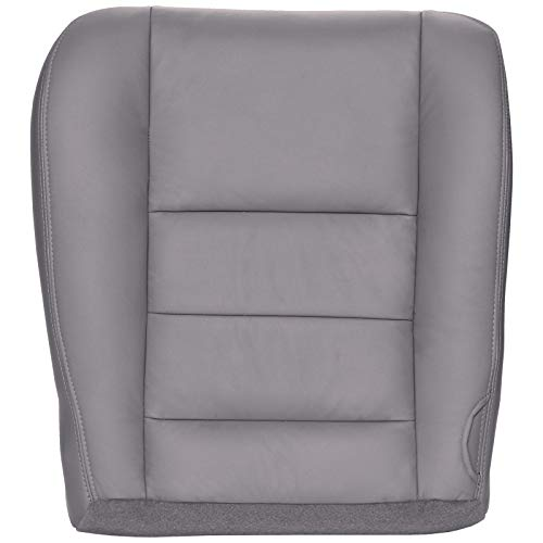 The Seat Shop Driver Bottom Replacement Leather Seat Cover - Medium Flint Gray (Compatible with 2002-2007 Ford F250 and F350 Lariat Crew Cab, and 2002-2005 Ford Excursion Limited and ()