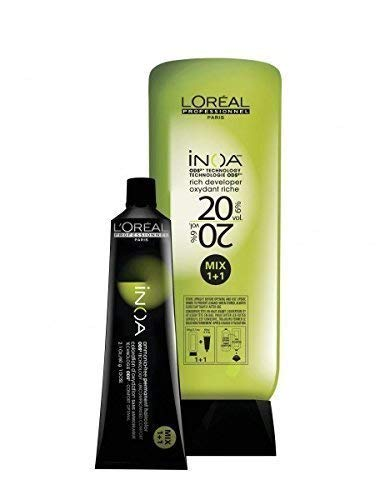 Loreal Inoa Ammonia Free- Hair Color Tubes – 4 Tubes No 5.5 (Light Mahogany Brown) + 1 Pc Inoa Developer 20 Vol(6%) 1000…