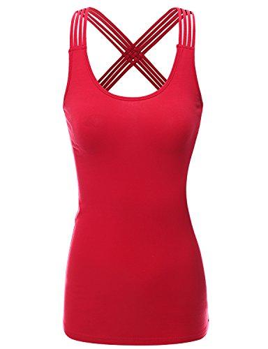 Doublju Womens Basic Round Neck Strappy Crisscross Back Tank Top