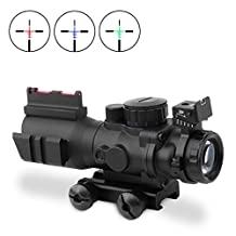 Optical Rifle Scope, Uboo 2.5-10x40R+HD101 Red Green Mil-Dot Illuminated Optical Sniper Rifle Telescopic Scope for Hunting with Cut Sunshade
