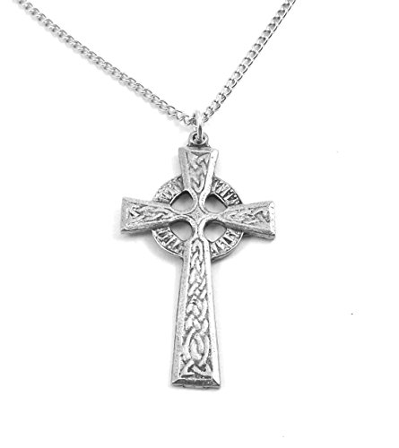 Gold Celtic Link (Silver Tone Pewter Celtic Cross Charm on Link Chain Necklace - 18