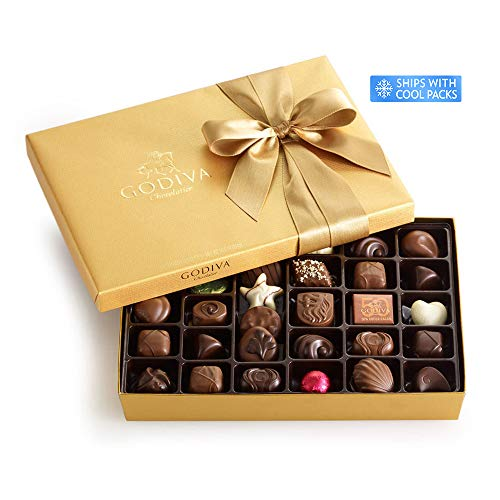 Godiva Chocolatier Gold Ballotin, Classic Gold Ribbon, Great for Gifts, Gourmet Chocolate, Chocolate Gifts, Gifts for Her, Mothers Day Gift, 36 ()