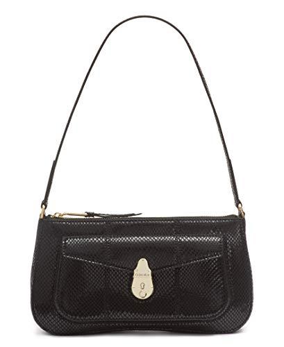 Calvin Klein Statement Series Lock Daytonna Leather Demi Shoulder Bag, Black