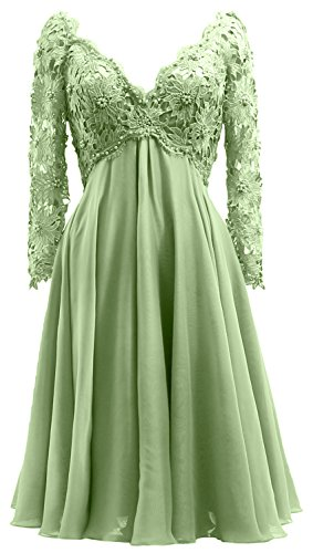 Mother Gown Long V Formal Dress Lace Sleeve MACloth Bride of Women clover Midi Neck the wgzwTX