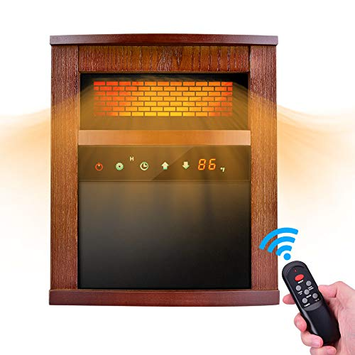 Trustech 1500W Portable Space Heater with Remote &Timer, Function 3 Modes with Intelligent Programmable Thermostat, Overheat & Tip-Over Shutoff Wood Cabinet, M, Brown