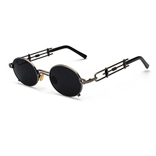 Chasingdream lunettes Round en étui pour pistolet hommes de Lunettes de soleil inspiré Punk rétro avec Noir Lunettes Cadre Steam Cercle soleil femmes métal Lens Vintage RwrERq