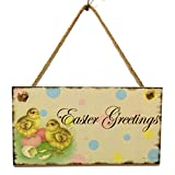 Tuu Easter Wooden Hanging Plates with Flower Pattern Commemorating Jesus Resurrection (Multicolor)