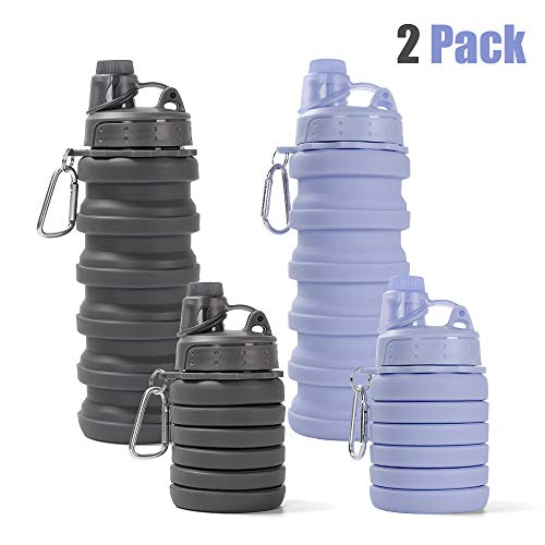 Collapsible Water Bottle - BPA Free Silicone Foldable Travel Water Bottle for Sport Camping Hiking Cycling Leak Proof Collapsible Water Bottle Outdoor Portable Water Bottle with Hook (AX-Grey+Purple)]()