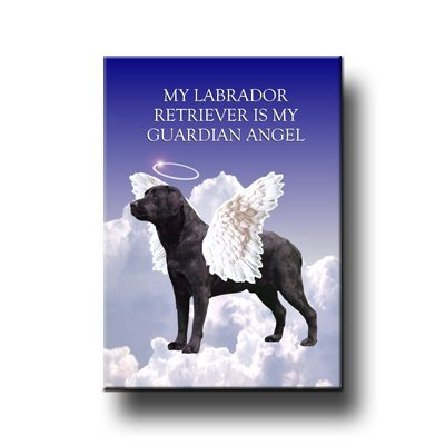 Labrador Retriever Guardian Angel Fridge Magnet (Black) Wag Whimsy