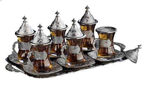 (Gold Case Silver plated - TELKARI - METAL Turkish Tea Glasses Set for 6 - Made in Turkey - 31 pieced Gilded set including Tray, Silver)