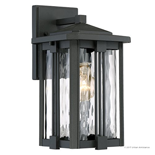 Luxury Craftsman Outdoor Wall Light, Small Size: 12.25''H x 6.5''W, with Mid-Century Modern Style Elements, Vertical Stripes Design, Natural Black Finish and Water Glass, UQL1050 by Urban Ambiance by Urban Ambiance (Image #7)