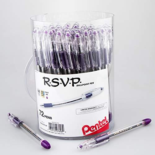 (Pentel RSVP Ballpoint Pen, (1.0mm) Med Line, Violet Ink, 72pk Canister (BK91PC72V))