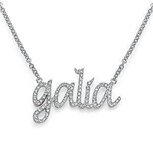 14k gold name necklace with diamonds custom. Black Bedroom Furniture Sets. Home Design Ideas