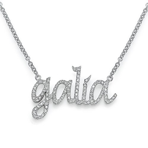 14k Gold Name Necklace with Diamonds, Custom-made