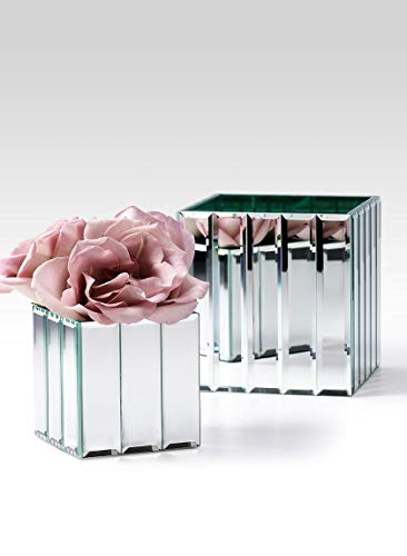 "(Serene Spaces Living Gatsby Mirror Strip Cube Vase – Art Deco Inspired Glass Vase with Mirror Finish, Measures 4"" Cube)"