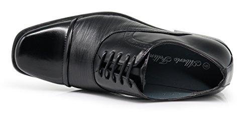 Enzo Romeo Gavin Heren Klassieke Cap Teen Oxfords Lace Up Kleding Schoenen (10 D (m) Ons, Zwart)