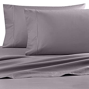 Queen Size Flat Sateen Sheet with 725 Thread Count Pure Cotton In Grey Color Size 106  x 96