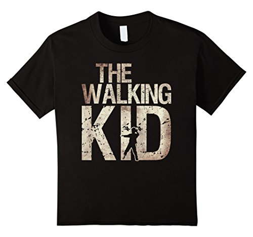 Kids Walking Kid Shirt Zombie Child Lad Boy or Daughter Tee 6 Black (Awesome Mother Daughter Halloween Costumes)