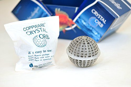 Crystal Orb water clarifier -patented insoluble NanoMaterial -ultimate microbe control alternative to UV -kill bacteria fungi algae -maintain pH -no extra installation -safe to human animals plants by COPPWARE (Image #1)