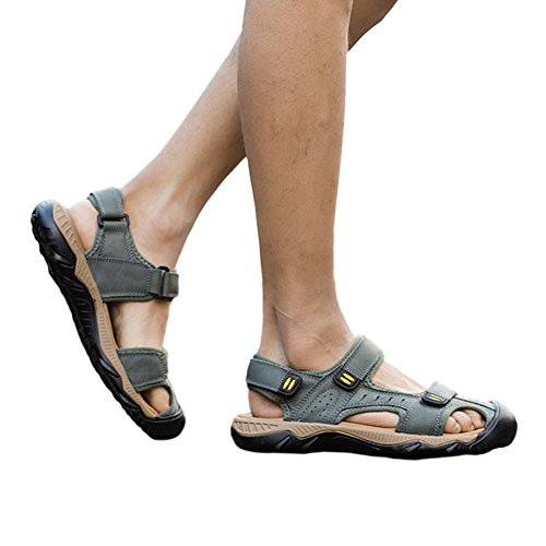 Shoes Summer Khaki Haodasi Beach Leather slip Slippers Sandals Leisure Men Casual Outdoor Non qwEEOAP7