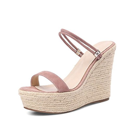 Dovaly Women Sandals Wedegs Peep Toe Weaving Platform Ankle Strap Fretwork Office High Heels