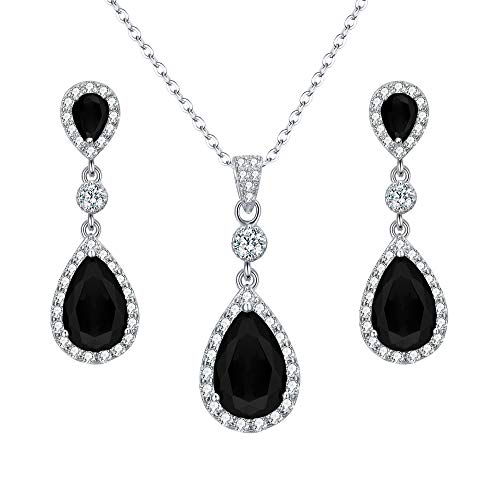 EleQueen 925 Sterling Silver Full Cubic Zirconia Teardrop Bridal Pendant Necklace Dangle Earrings Set Black 925 Silver Earrings Pendant