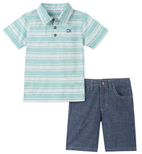 Calvin Klein Baby Boys 2 Pieces Polo Shorts Set, Green, 6-9 - Green Kids Clothing Infant
