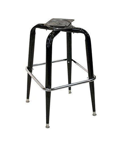 American Tables & Seating SR-BF Gloss Black Metal Bar Stool Frame with Chrome Ring, Welded Round Tapered Tubing, 17