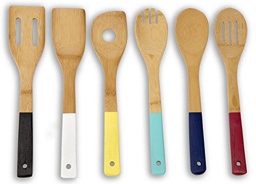 - Home Basics Bamboo Cooking Utensils Set with Color Handles, 6-Piece