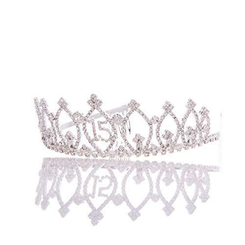 Ella Celebration 15 Tiara 15th Birthday Party Accessories Supplies, Quinceanera Crown (Tiara) (Geometric)
