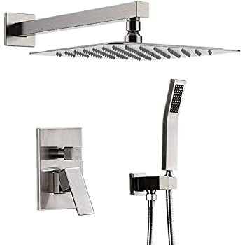 "STARBATH Brushed Nickel Shower System with 12"" Rain Shower"